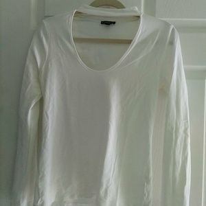 White fitted high neck top